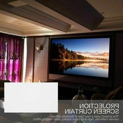 Home Cinema Theater Projection Screen Curtain 16:9 Fabric Wh