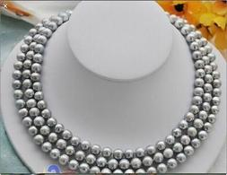 Hot 50inch 7-8mm south sea gray pearl necklace 14K Yellow Go