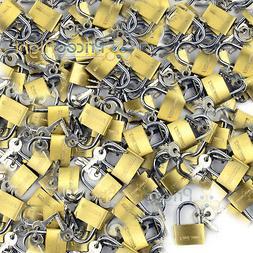 """50 pack Lot 1"""" Inch Key Padlock Mini Tiny Small Brass Lock L"""