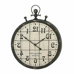 Industrial 50 Inch Vintage Metal and Wood Wall Clock from St