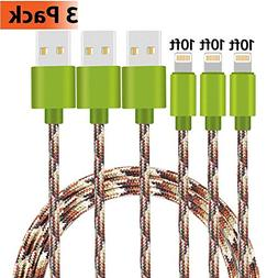 iPhone Charger, KMISS 3Pack 10FT Nylon Braided USB A to Ligh