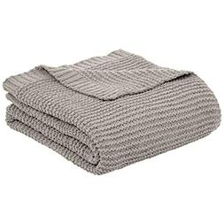 "AmazonBasics Knitted Chenille Blanket - Light Grey, 50"" x 60"