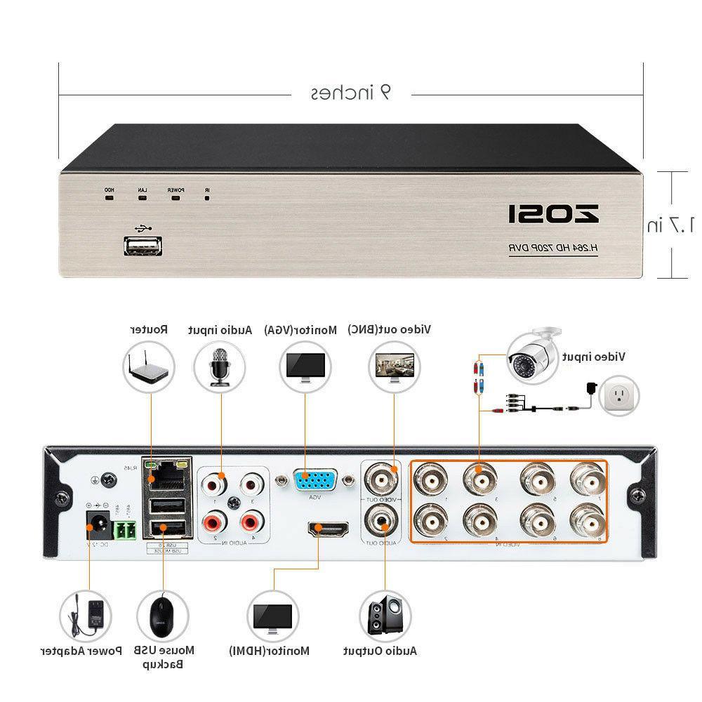 ZOSI HD DVR 720P Outdoor Home Surveillance 8 CH
