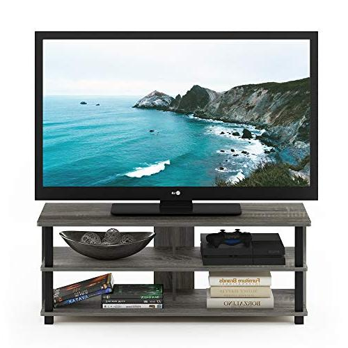 Furinno Sully Stand TV up to 50, French Oak Grey/Black