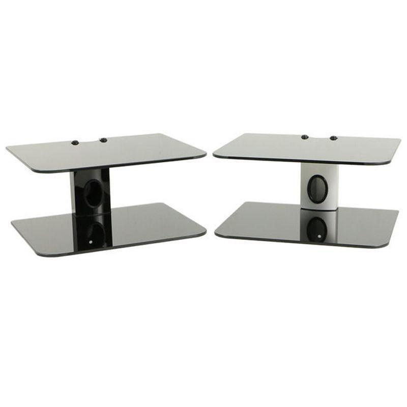2 tier dual glass shelf wall mount