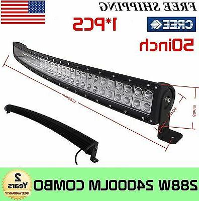 288w 50inch cree curved led light bar