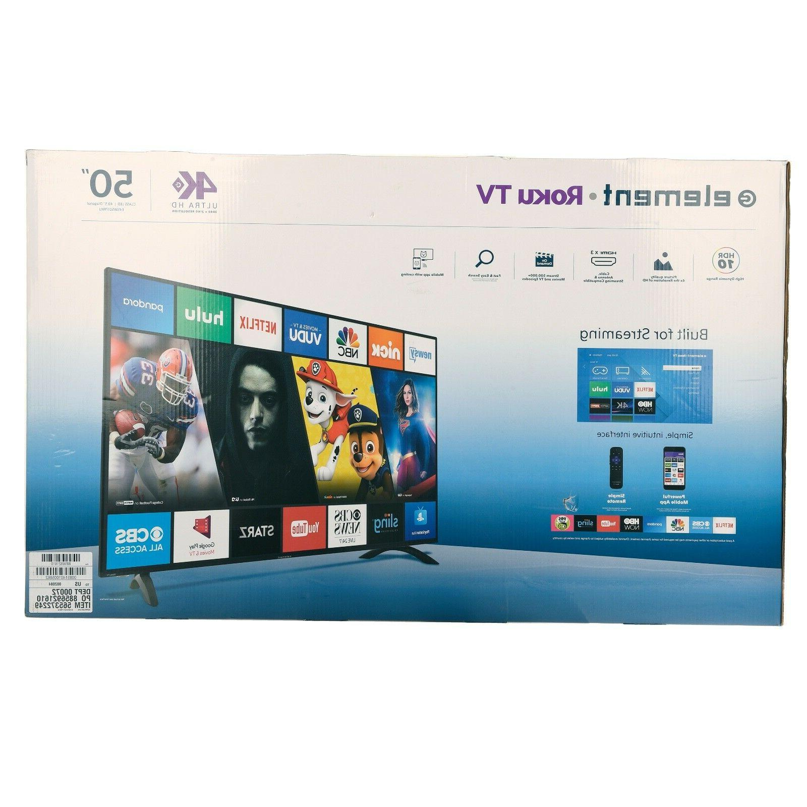 Element 50 4k Roku Built in WIFI connectivity - Brand New Se