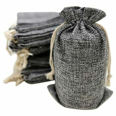 50 gray burlap bags with drawstring 5x8