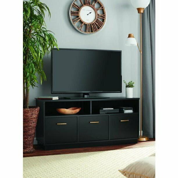 "50"" Console Cabinet Center Storage Black"