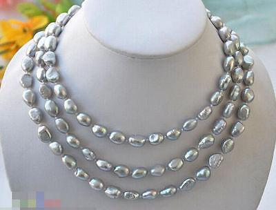 50inch 8-10mm gray baroque freshwater cultured pearl necklac