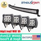 "52"" 300W +4X 18W EPISTAR LED LIGHT BAR CURVED DRIVING COMBO"
