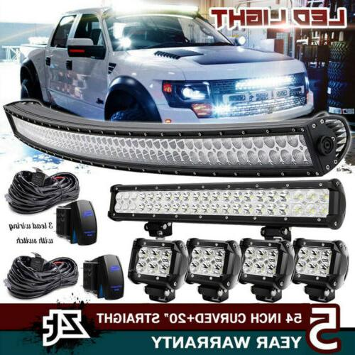 """54Inch Curved LED Light Bar+23 inch+4"""" 18W PODS OFFROAD SUV"""