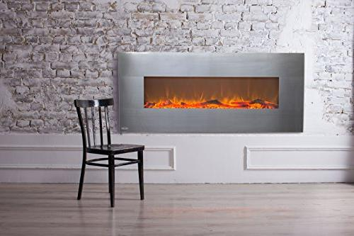 Touchstone Onyx 50 Wide On Wall - 5 Flame Realistic - Watt - Log & Timer Remote