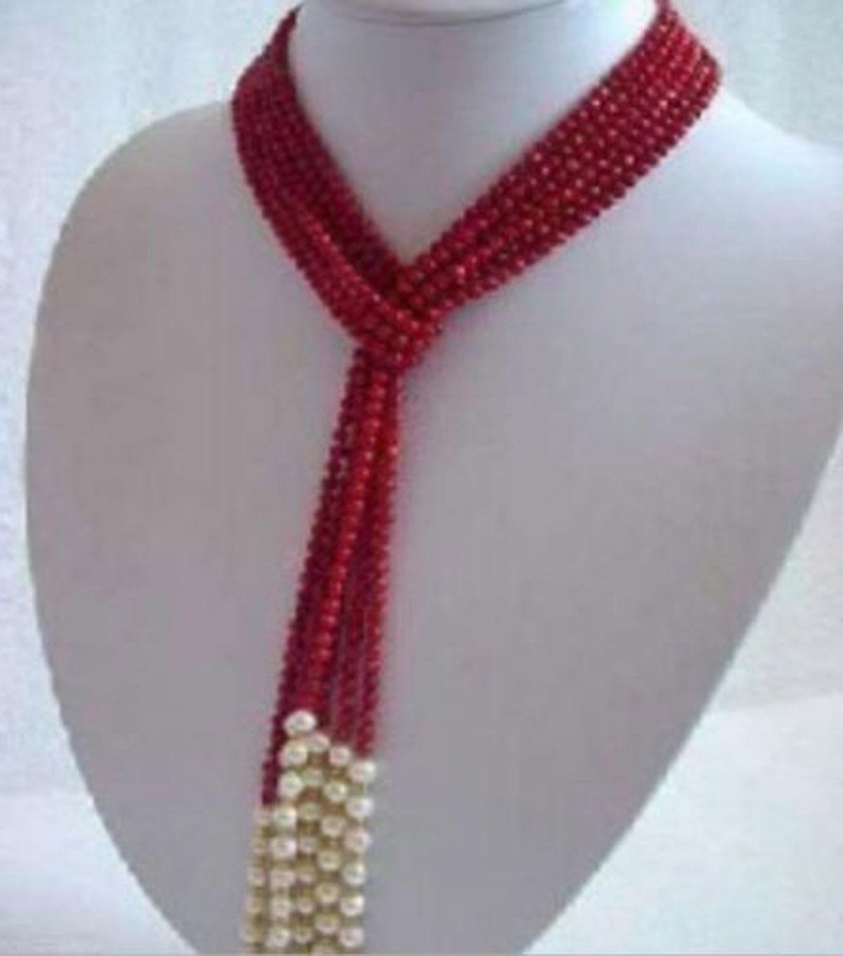 AAA50 inches Beautiful 3 strands 4 MM Red Coral & White Pear