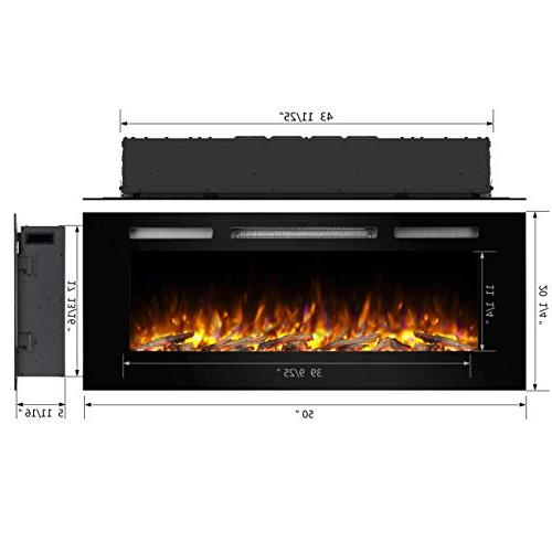 """PuraFlame Alice 50"""" Electric Wall for 2 Stud, Crystal, Heater, Black"""
