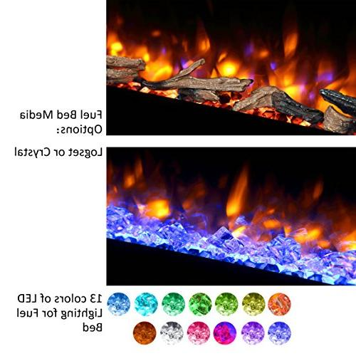 PuraFlame Electric Fireplace, for 2 X Stud, Log Crystal, 1500W