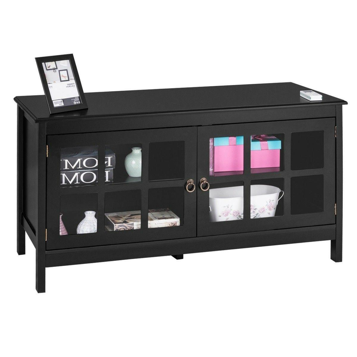 "Black 50"" Wood Storage Console Media Center Cabinet"