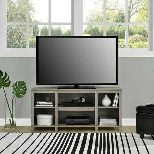 Black or Oak 50 inch TV Stand Cubby Dorm Office Shelves Stor