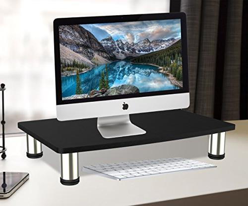 "Durable TV Monitor Riser LCD LED to 50"" Save Space Tabletop,Ergonomic Flat Mount Desktop Load 88lbs,Black.Power"