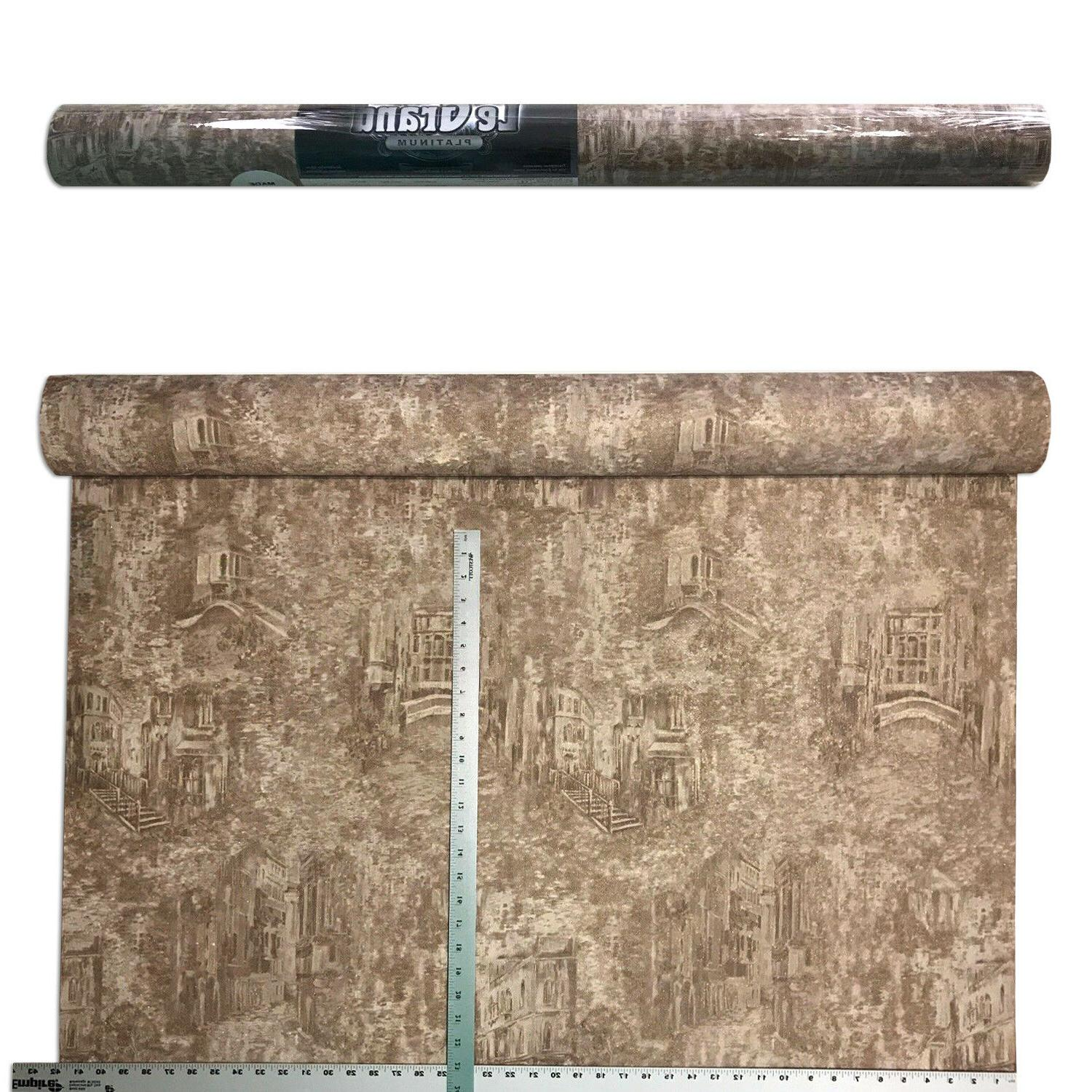 Faux Rug Old Wallpaper gold roll textured Town