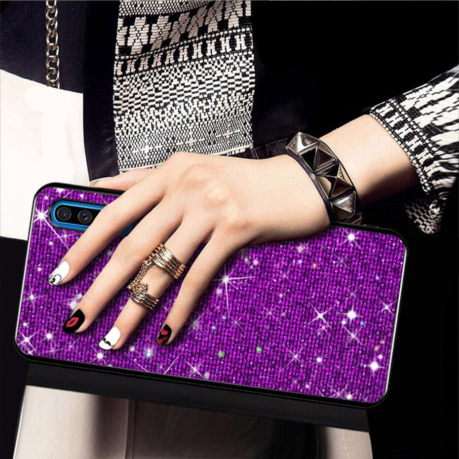 For Case Cases sFor A50 A505 A505FZ Grid Glitter phone