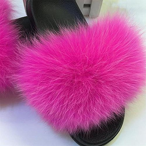 Fox Slippers Women Fur Fluffy Plush Furry Flats Sweet Shoes,Fox red,9.5