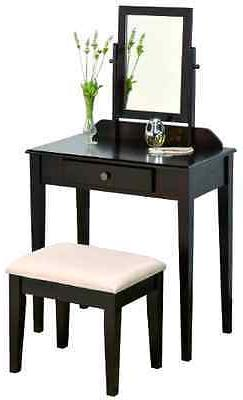 Iris Vanity Table & Stool in Espresso Finish by Crown Mark