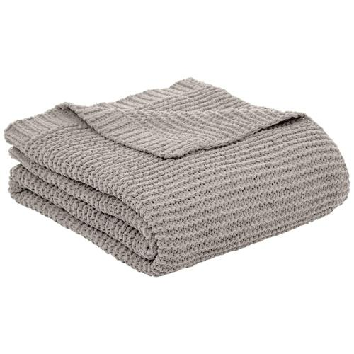 knitted chenille blanket light grey 50 x