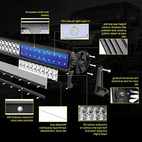 LED Light Inch Curved AUTO Light 4D 8ft Offroad Fog Marine Boating WATERPROOF Spot Combo Beam Light Bar,