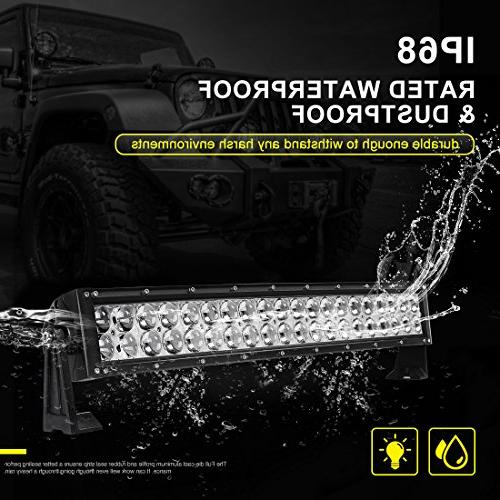 LED Light Inch Curved Light 8ft Wiring Harness, Offroad Driving Lamp Marine Boating WATERPROOF & Flood Combo Light Bar, 2