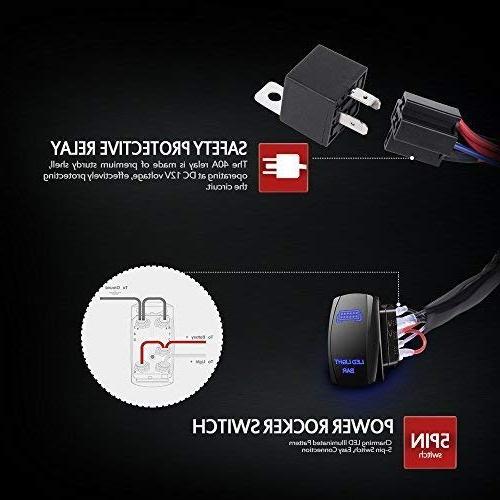 MICTUNING HD 300w LED Light Harness Fuse Amp ON-OFF Rocker Blue