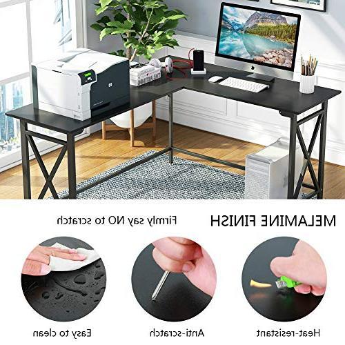 LITTLE Desk, L-Shaped Computer Desk Black Writing Gaming