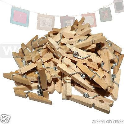 "50 pc MINI 1"" inch small CLOTHESPIN Natural Wood Miniature C"