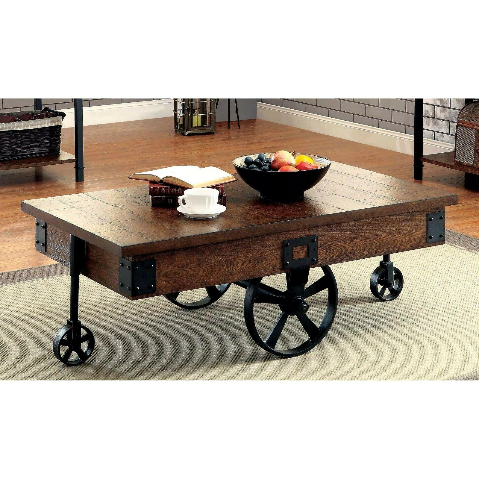 Modern Vintage Industrial Rustic Wood 50 Inch Coffee Table I