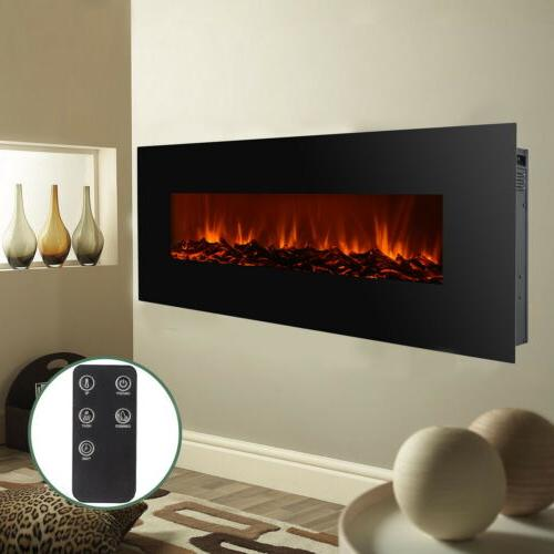 """New 50"""" Electric Mounted Fireplace W/ Adjustable Black"""