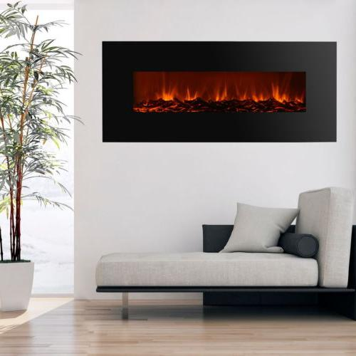 """New 50"""" Electric Wall Mounted Fireplace Adjustable Black"""