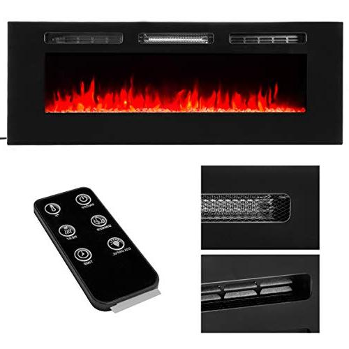 XtremepowerUS Electric Fireplace in-Wall Mounted Heater 750W