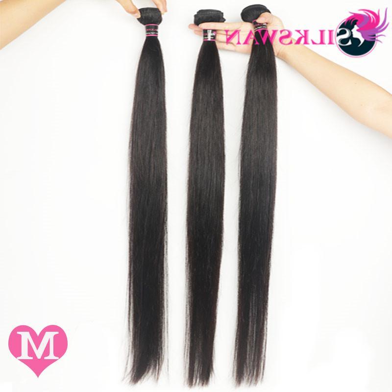 Silkswan Hair Middle Ratio 36 38 Remy Hair Straight Bundles Natural Hair For Women