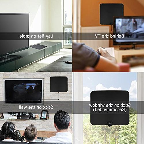 TV NewPlus Amplified HDTV Antenna Mile Range with Amplifier Signal Performance Coax 2017 Version