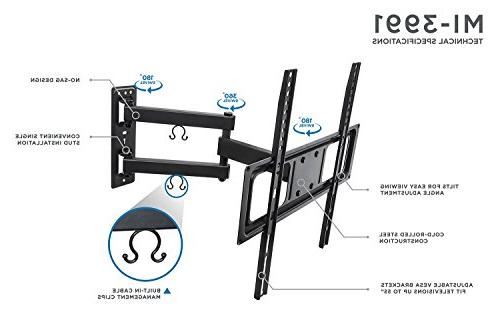 Mount-It! TV Wall Mount Bracket with Motion Arm Extension for Inch LED, LCD, TVs, Deg Swivel