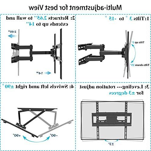 """Everstone TV Mount Fit for TVs Articulating Arm Full Bracket 14"""" Plasma Flat TV,Curved TV,Up 400mm,HDMI Cable"""