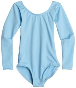 Clementine Apparel Girls' Little  O Neck Long Sleeve Leotard