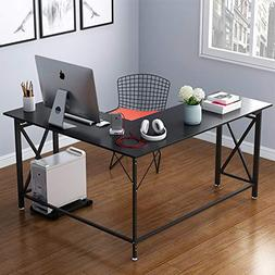 "LITTLE TREE L Shaped Desk, 50"" L-Shaped Computer Desk Black"