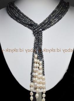 Long Charming 3 Strands 4mm Gray Labradorite Beads & White P
