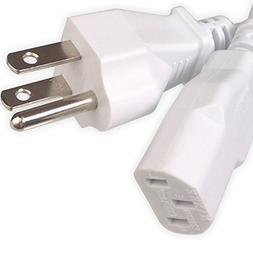 Ipax 10Ft Long White AC Power Cord Cable Pull Copper Wire Co