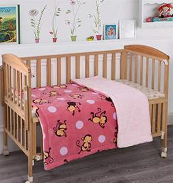 MB Collection Kids Soft & Warm Pink, Brown Monkey Design She