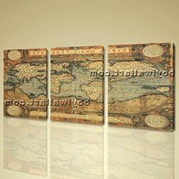 Old World Global Map Ocean Retro Atlas Print Canvas Wall Art