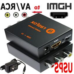 Powered HDMI to AV / RCA Converter Box Composite Audio Video