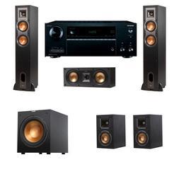 Klipsch R-24F Floorstanding Speakers 5.1 R-10SW Onkyo TX-NR6