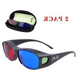 BIAL Red-Blue 3D Glasses with Case Glassese Cloth 2 Pack Cya